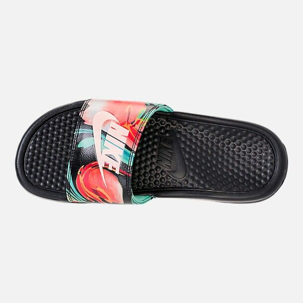 "NIKE Сланцы женские1 WOMENS BENASSI ""JUST DO IT"" SANDAL, black, white, green, red. Фото N3"