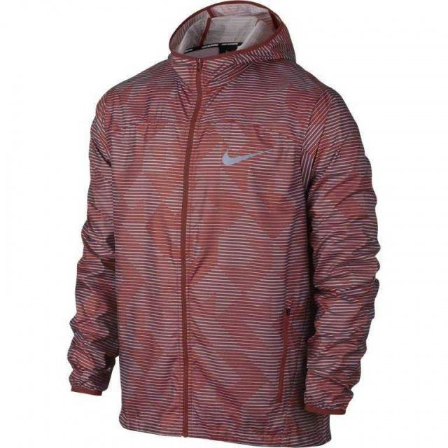 NIKE Ветровка мужская Shield Running Jacket, red, dark blue