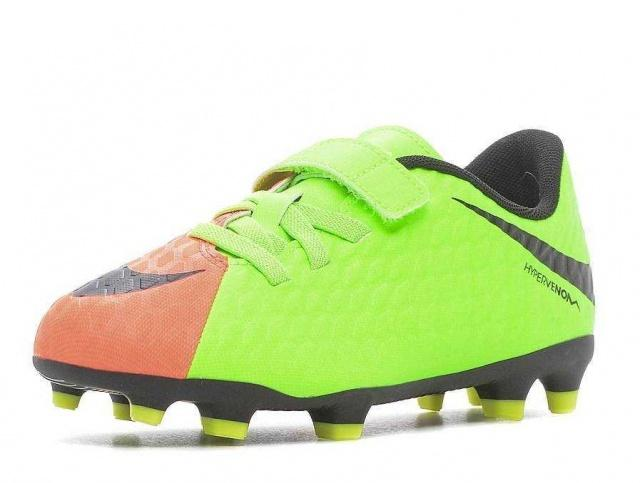 f03a7384 NIKE Бутсы JR Hypervenom Phade III (V) FG, orange, green 852589-