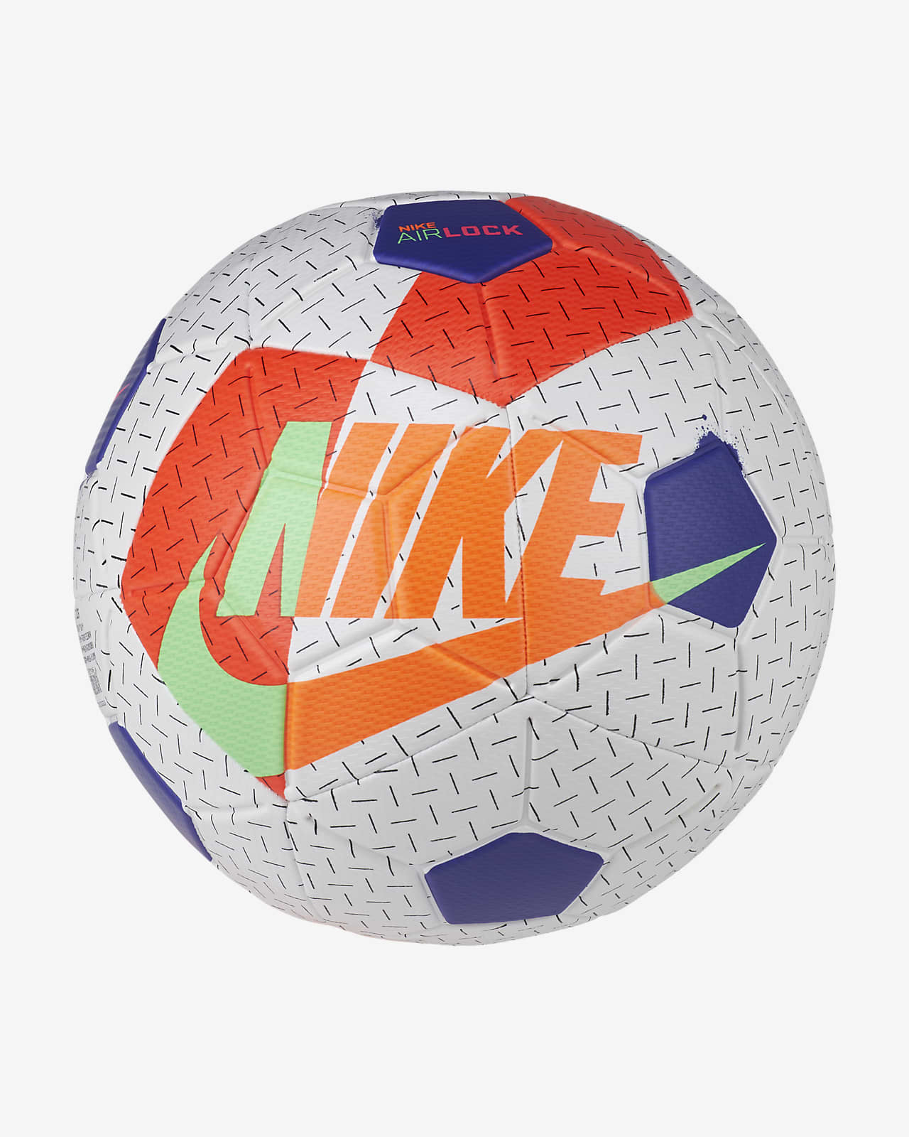 NIKE Мяч футбольный SC3972-103 NK AIRLOCK STREET X, white, dark blue, green, orange, red