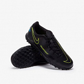 NIKE Бутсы подростковые JR PHANTOM GT CLUB TF GS, black, yellow