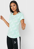 PUMA Футболка женская AMPLIFIED AOP TEE, green, white